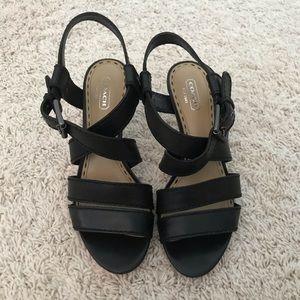 Coach Black Strappy Heels